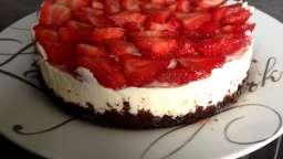 Cheesecake base brownie, chocolat blanc et fraises