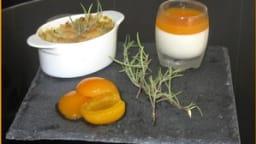 Crumble abricot, chocolat blanc et romarin