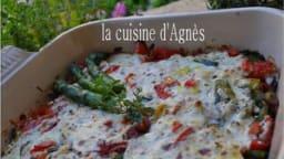 gratin d'asperges et de courgettes au brocciu