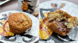 Muffins banana bread, coeur pâte à tartiner chocolat