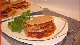 Millefeuille de tuiles de parmesan au jambon cru