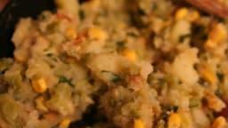 Ragoût pommes de terre, pois cassés, maïs, banane