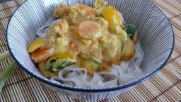 Curry Jaune de Crevettes et Nouilles de Riz