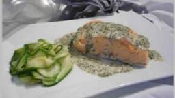 Pavés de saumon vapeur sauce à l'oseille.