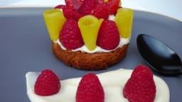 Tartelette framboise, mangue, crème légère vanille