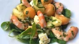 Salade de melon ananas et crevettes