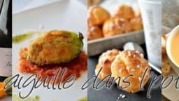 Gaufre de pain perdu, tagliatelles de carotte et oeuf poché
