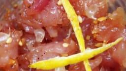 Tartare de bonite à dos rayé au citron caviar