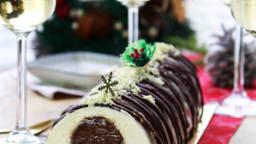 Bûche Brownie, chocolat blanc-amandes et praliné