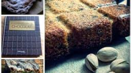 Brownies nature au sucre de canne et aux pistaches.