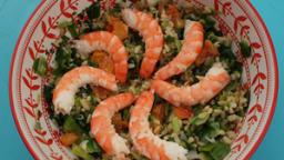 Salade blé, poireaux, crevettes