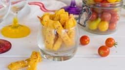 Frites de polenta au parmesan et tomates confites