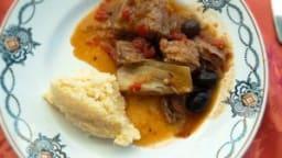 Veau au fenouil, tomates, olives noires