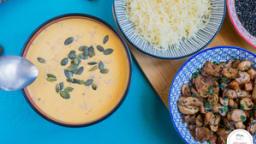 Velouté de patate douce, lentilles corail au lait de coco et gingembre