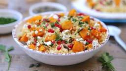 Salade de courge butternut rôtie, boulgour et huile d'olive Bio