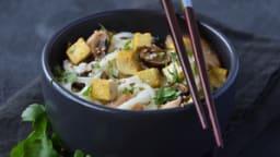 Nouille de riz au tofu mariné au citron et gingembre