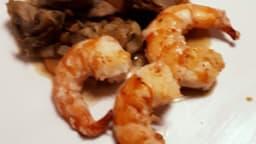 Gambas grillés – artichauts en barigoule de bisque de crustacé
