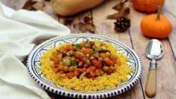 Tajine d'automne aux légumes rôtis au miel, dattes et pois-chiches