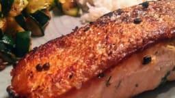 Pavés de saumon cuits à l'unilatérale et sa poêlée de courgette