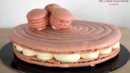 Macaron géant vanille framboise
