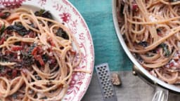 Spaghetti aux bettes, citron et ricotta