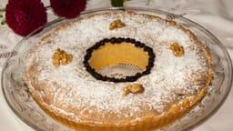 Tarte couronne biscuitée aux myrtilles et crème aux noix croquantes