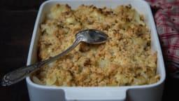 Gratin de chou-fleur, streusel gourmand au bleu des Vosges