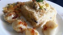 Saint Jacques aux champignons, poireau et quinoa