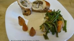 Ballottines de volaille aux champignons et aux noix, sauce au foie gras