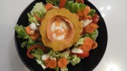 Patidous farcis à la truite et salade tiède