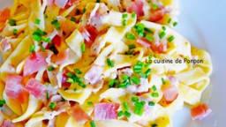 Tagliatelles au jambon cru, sauce mozza