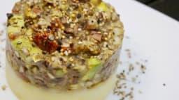 Tartare sur lit de pommes de terre
