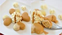 Cœur croquant au chocolat dulcey et mousse pralinée