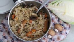 Mijoté de chou et choucroute aux abricots secs
