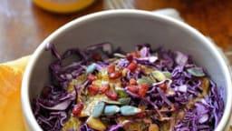 Salade de chou rouge, vinaigrette à l'abricot