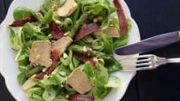Salade périgourdine au foie gras, asperges et magret fumé