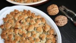 Crumble d'endives au roquefort, noix et raisins