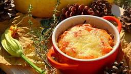 Gratin de courge spaghetti et de tomates aillées au thym
