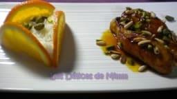 Filets de lapin au caramel d'orange, pignons de pin et pistaches