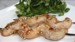Yakitori de poulet sauce citron & gingembre