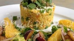 Boulgour aux petits légumes et salade d'épinards aux fruits