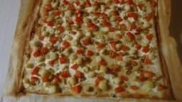 Tarte aux pétoncles, tomate et courgette