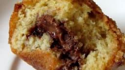 Muffins à la banane, coeur Nutella