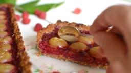 Tarte framboise et raisin blanc