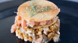 Millefeuille de saumon et champignons