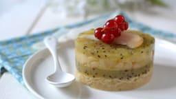 Petits gâteaux aux poires caramélisées et gelée de kiwi