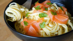 Spaghettis au saumon fumé