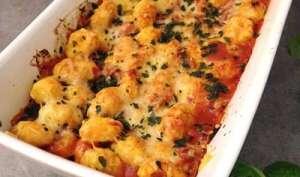 Gratin de gnocchis, tomate, lardons et chorizo