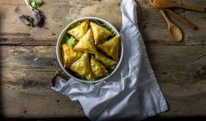 Samoussas au fromage raclette poire et coppa