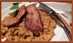 Escalopes de Foie gras et Risotto aux tomates séchées